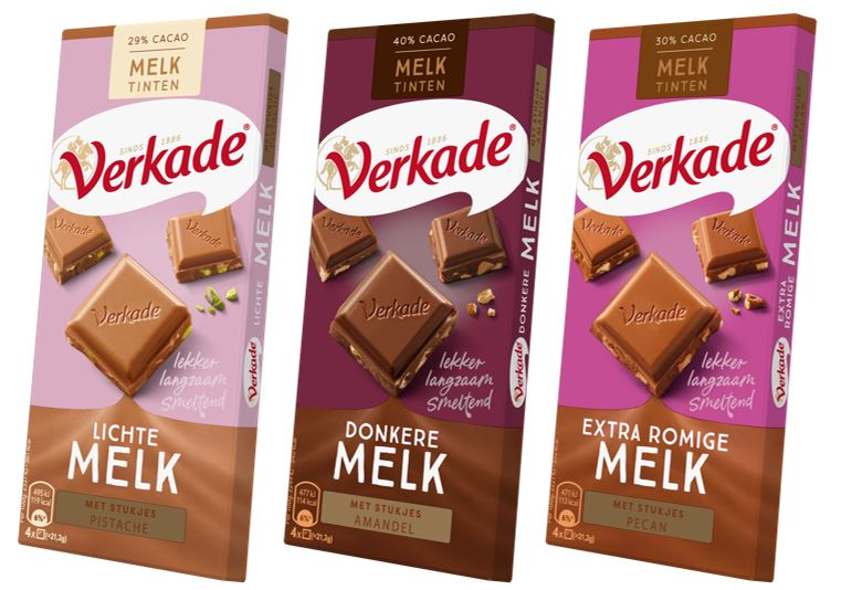 drie melktinten verpakkingen van Verkade